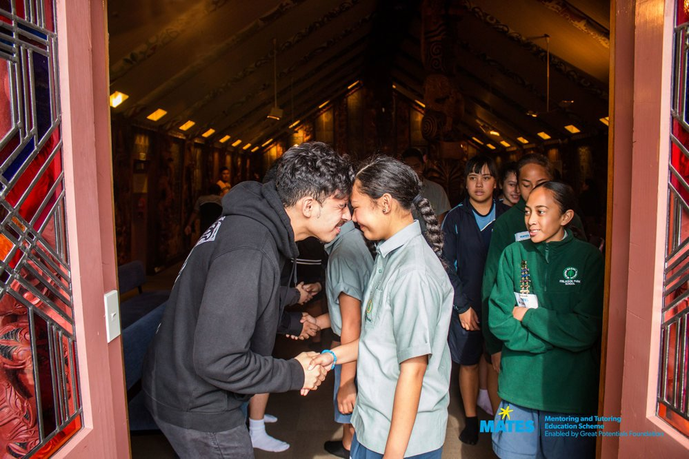 MATES Junior students being welcomed onto Uni Marae